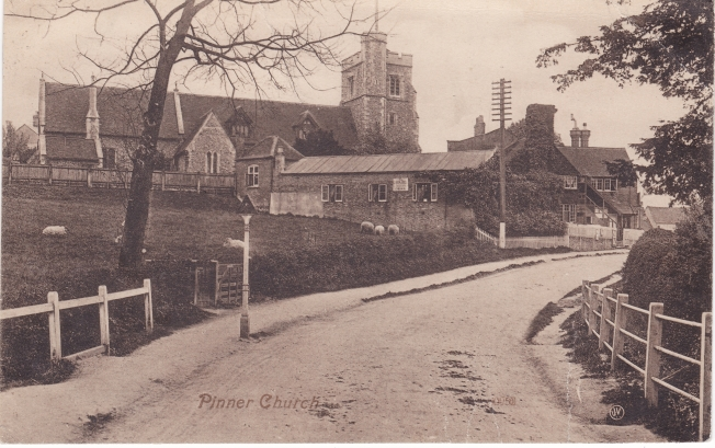 Pinner Parish Church from Paines Lane 1909